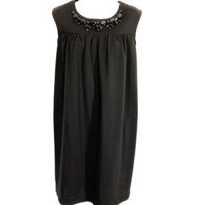 ELLE Black Stretch Knit Beaded Oversized Dress ~ L